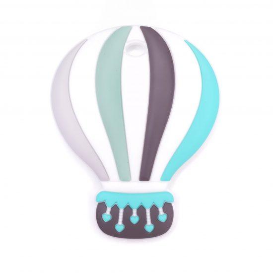 Siliconen bijtfiguur luchtballon turquoise bpa vrij groothandel regenboog