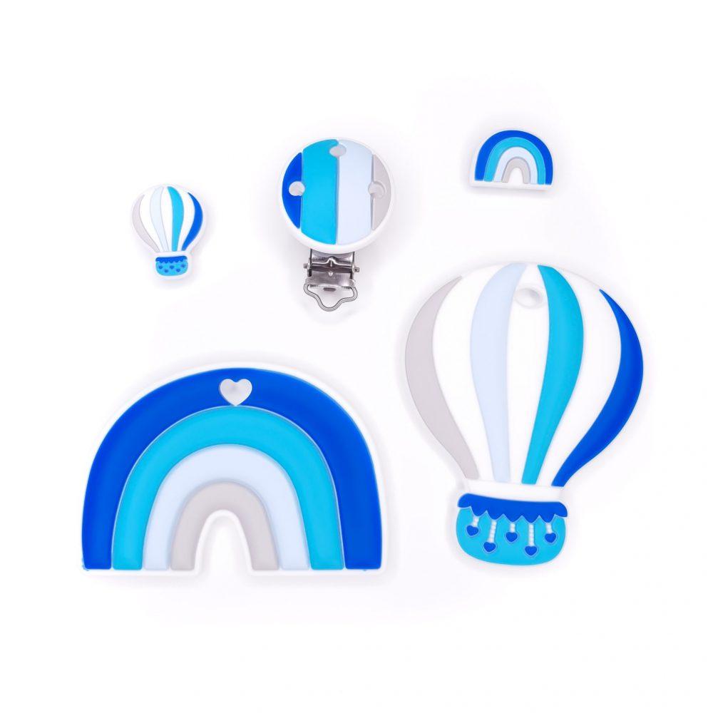 Siliconen bijtfiguur set luchtballon koningsblauw bpa vrij groothandel regenboog