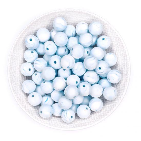 Siliconen kralen marmer blauw bpa vrij groothandel speenkoord bijtring
