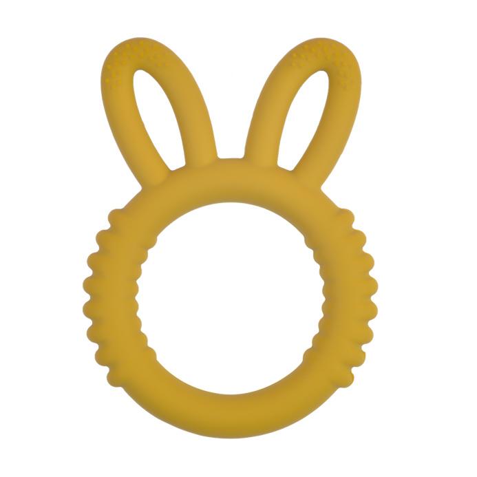 Siliconen bijtspeeltje bijtspeelgoed groothandel bpa vrij fluffy bunny oker geel