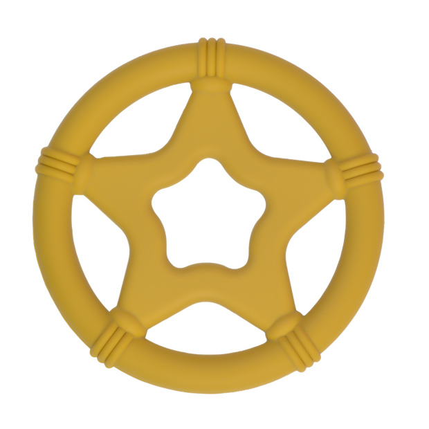Siliconen bijtspeeltje bijtspeelgoed groothandel bpa vrij twinkle star oker geel