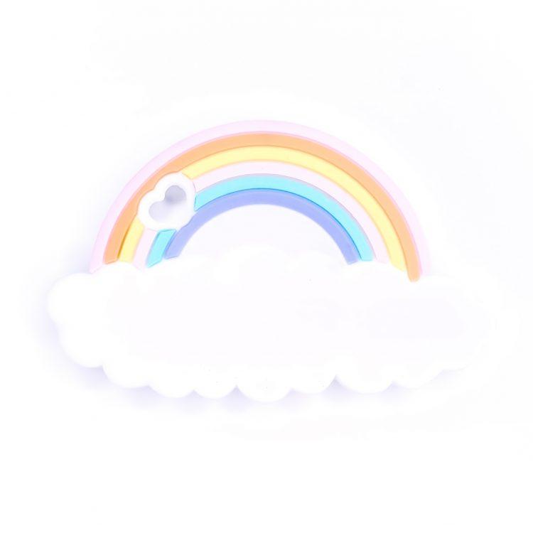 Siliconen bijtfiguur wolk met regenboog bpa vrij groothandel
