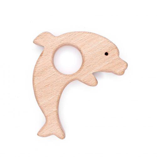 Houten bijtfiguur beukenhout dolfijn baby veilig CE EN-71