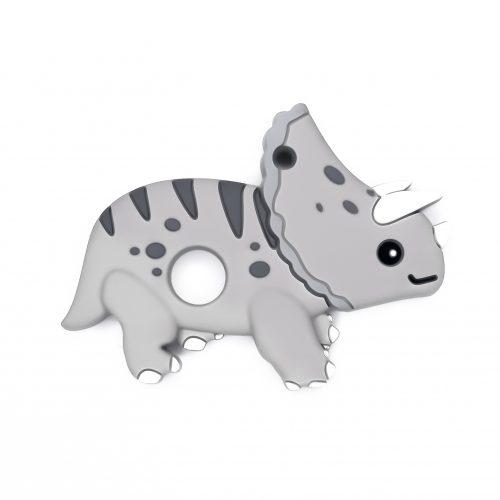 Siliconen bijtfiguur bpa vrij baby veilig groothandel dinosaurus triceratops grijs