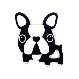 Siliconen bijtfiguur bpa vrij baby veilig groothandel bulldog zwart