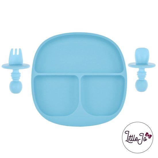 Kinderservies Baby BPA vrij Bord en Bestek Licht Hemelsblauw