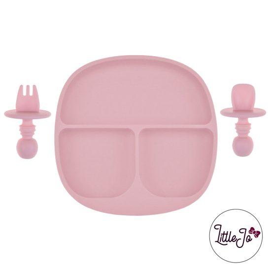 Kinderservies Baby BPA LittleJo vrij Bord en Bestek Perzik Roze