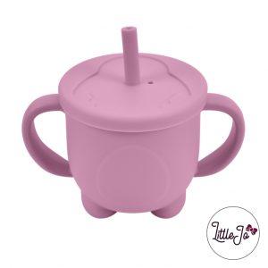 Siliconen drinkbeker rietje EN 14372 LittleJo groothandel bpa vrij baby veilig EN-71 framboos roze