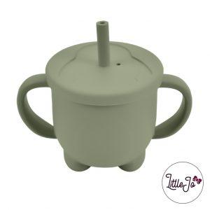 Siliconen tuitbeker drinkbeker rietje EN 14372 LittleJo groothandel bpa vrij baby veilig EN-71 green tea
