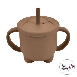 Siliconen drinkbeker rietje EN 14372 LittleJo groothandel bpa vrij baby veilig EN-71 milk chocolate