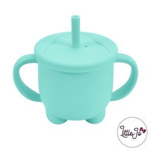 Siliconen tuitbeker rietje EN 14372 LittleJo groothandel bpa vrij baby veilig EN-71 mint groen