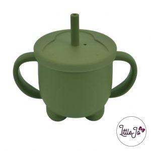 Siliconen drinkbeker rietje EN 14372 LittleJo groothandel bpa vrij baby veilig EN-71 mos groen
