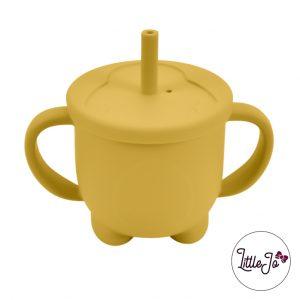 Siliconen tuitbeker drinkbeker rietje EN 14372 LittleJo groothandel bpa vrij baby veilig EN-71 oker geel