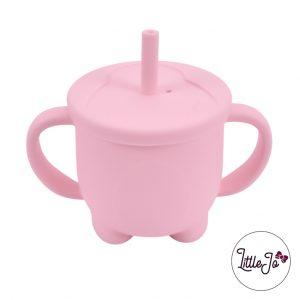 Siliconen tuitbeker drinkbeker rietje EN 14372 LittleJo groothandel bpa vrij baby veilig EN-71 perzik roze