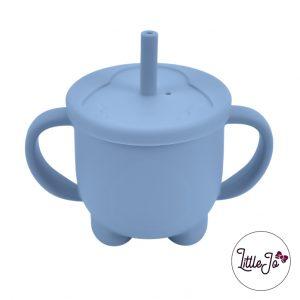 Siliconen tuitbeker drinkbeker rietje EN 14372 LittleJo groothandel bpa vrij baby veilig EN-71 poeder blauw